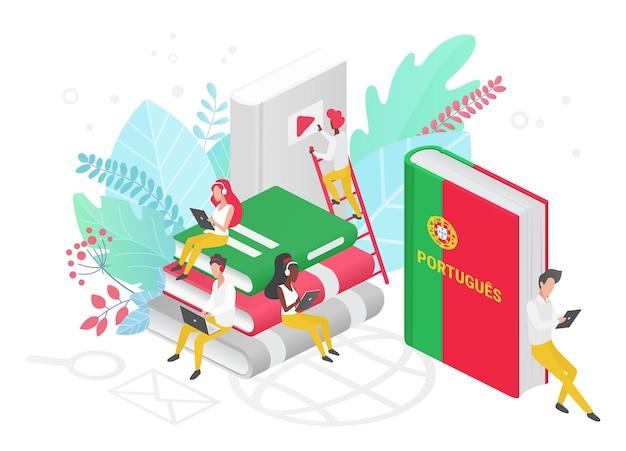 Cours de langue portugaise en ligne école ou université à distance concept isométrique