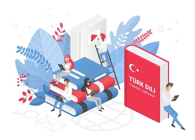 Cours de langue turque en ligne, école à distance ou concept isométrique universitaire