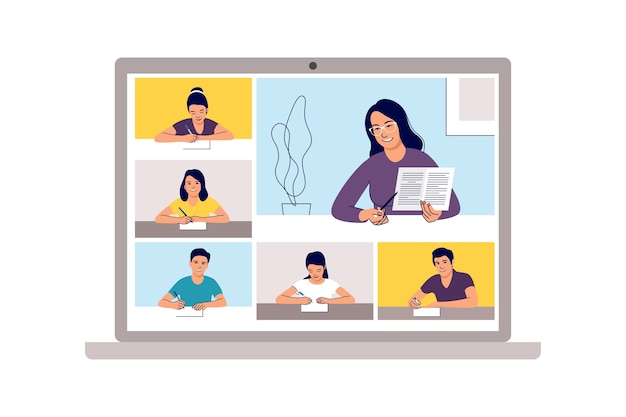 Cours en ligne. apprentissage scolaire, étude par téléconférence à domicile ou par vidéoconférence web. école d'urgence, test universitaire ou élément de cours.
