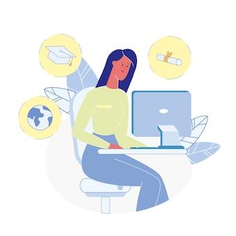 Cours en ligne choisissant une illustration plate