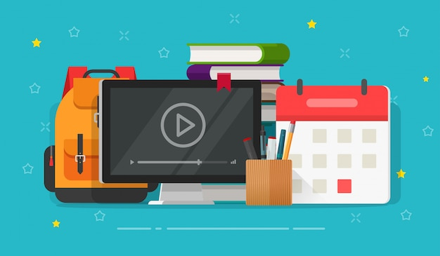 Cours en ligne de dessin animé plat ou étude vidéo avec webinaire sur écran d'ordinateur sur table