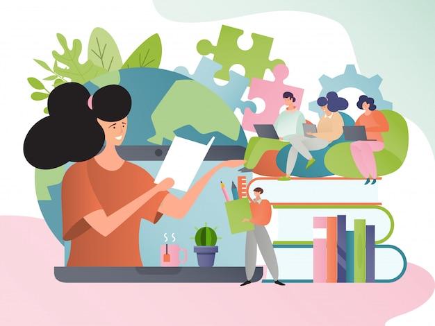Cours en ligne, éducation en illustration de concept internet. les personnages de dessins animés font des cours. didacticiel sur ordinateur.