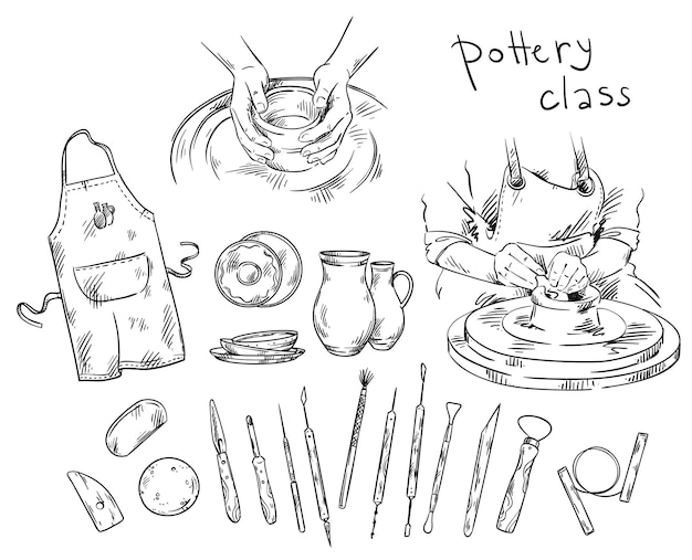 Cours de poterie. outils et instruments pour la fabrication de poterie, tour de potier
