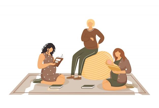 Cours pour les femmes enceintes et les jeunes mères illustration plate. grossesse et maternité. amies en période de grossesse et dame avec des personnages de dessins animés isolés nouveau-nés sur fond blanc