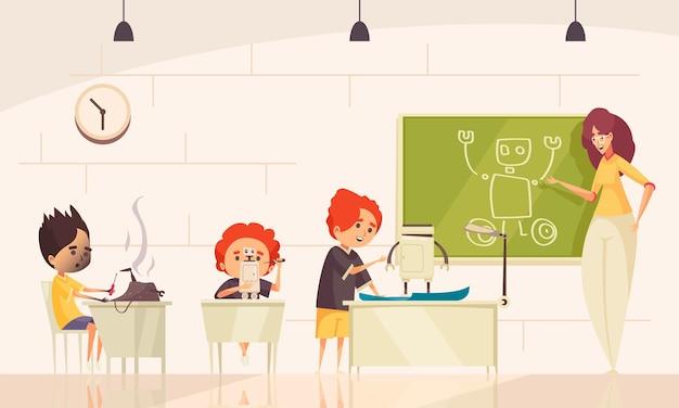 Cours de robotique pour enfants avec de petits élèves concevant des robots et un personnage adulte féminin au tableau noir