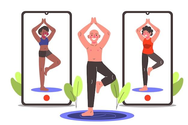 Cours de sport en ligne dessinés à la main avec des smartphones