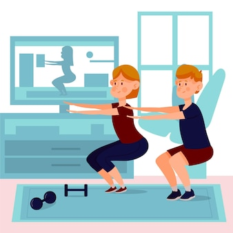 Cours de sport en ligne des gens faisant des squats
