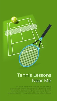 Cours de tennis sportif près de chez moi, apprendre à jouer. équipement et cour. terrain avec filet, balle et raquette pour joueur. l'éducation et l'amélioration. leçons et cours, affiches avec vecteur d'information