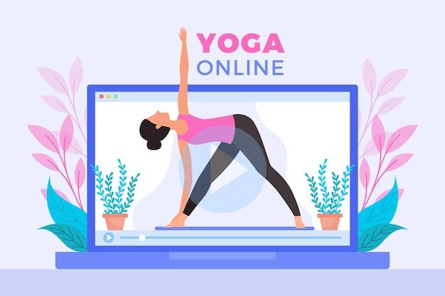 Cours de yoga en ligne design plat