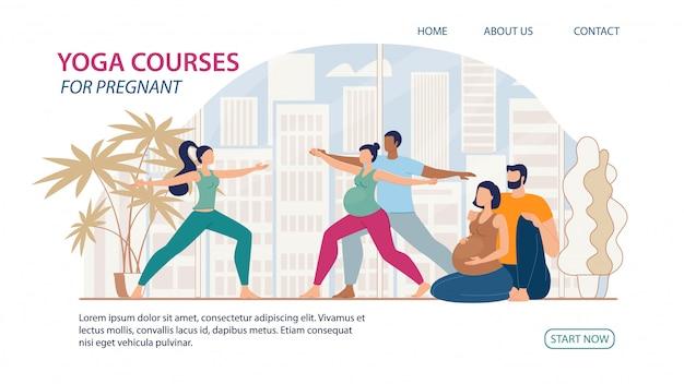 Cours de yoga pour bannière web plat pour femmes enceintes