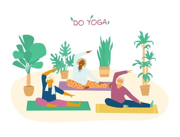 Cours de yoga pour groupe de personnes âgées. différentes races de vieilles femmes qui s'étendent sur des tapis de yoga entourés de plantes.