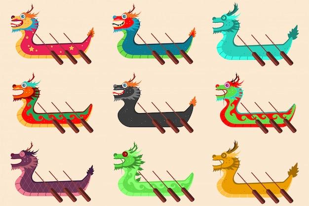 Course de bateaux-dragons prévue pour le festival chinois. icônes de dessin animé isolés