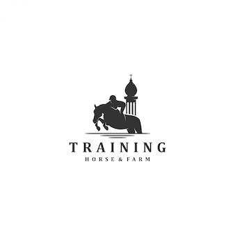Course de chevaux d'entraînement, ferme équestre