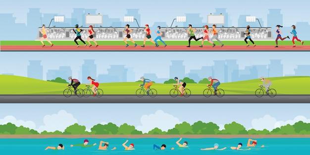 Course de compétition sportive de marathon de triathlon.