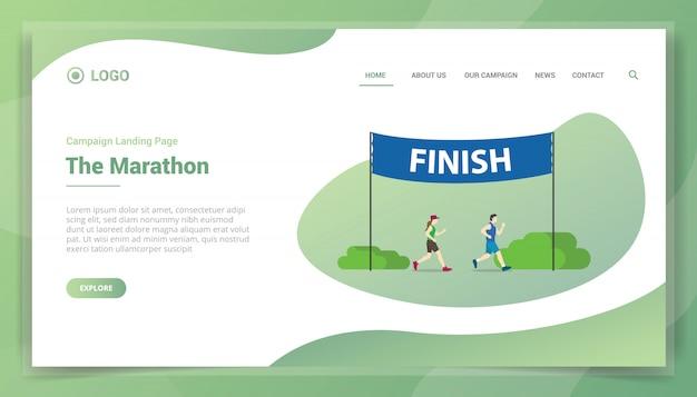 Course de marathon avec bannière d'arrivée pour le modèle de site web ou la page d'accueil d'atterrissage