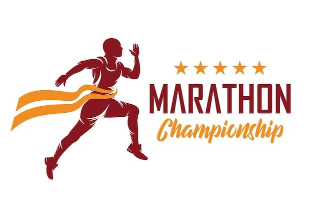 Course à pied et marathon logo design, vector illustration