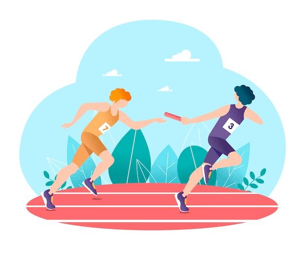 Course de relais. athlétisme.