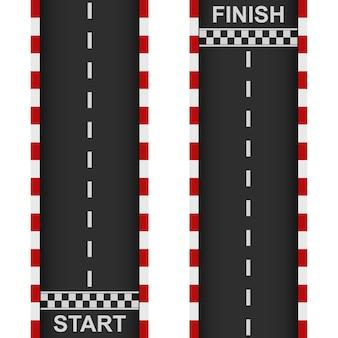 Course sur route début et fin