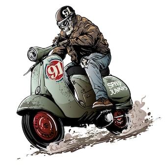 Course de scooter vintage