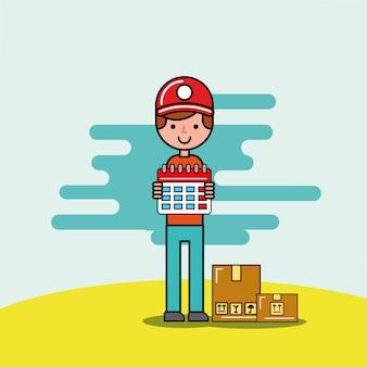 Coursier, garçon, tenue, calendrier, cartobard, logistique, livraison