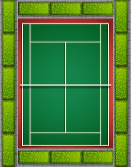 Court de tennis avec des buissons autour