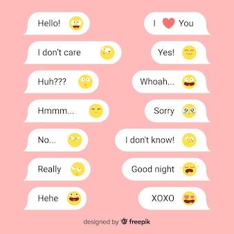 Courts messages avec des émoticônes pour des interactions sociales