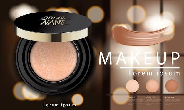 Coussin compact annonces de base, maquillage attrayant