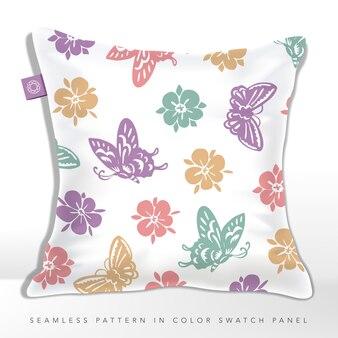 Coussin à motif floral et papillon sans couture vintage ou classique dans des couleurs pastel.