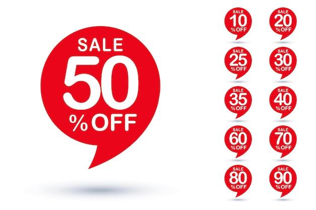 Le coût de remise en pourcentage de vente différent réduit le jeu d'étiquettes d'insignes. la boutique en ligne et le magasin vendent l'illustration de vecteur d'élément de conception d'autocollant de bulle de coupon d'annonce isolé sur fond blanc