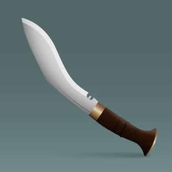 Couteau de chasse avec manche en bois.