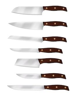 Couteau de chef réaliste et couteaux de cuisine
