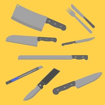 Couteau ensemble vecteur