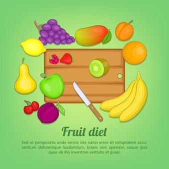 Couteau de fruits coupe concept, style cartoon