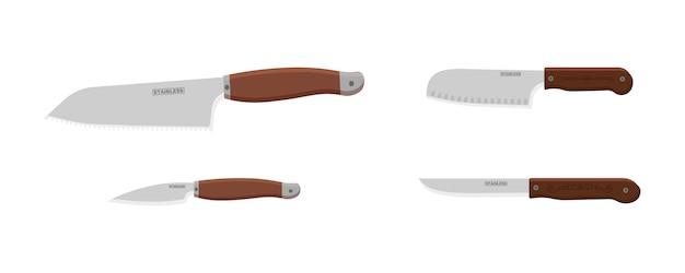 Couteau isolé sur fond blanc. icône de batterie de cuisine ou ustensiles de cuisine. ustensile de couteau de cuisine coutellerie réaliste.