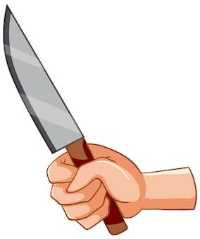 Couteau avec la main sur fond blanc