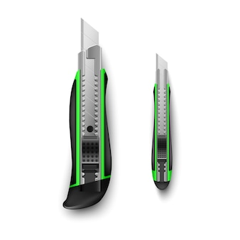 Couteau de papeterie vert grand et petit isolé