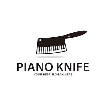 Couteau de piano, nourriture et boisson ou musique logo
