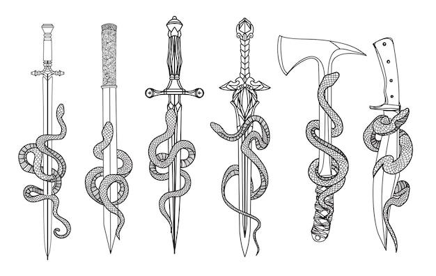 Couteau de snak d'art de tatouage et dessin d'épée et croquis noir et blanc