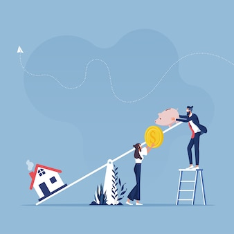 Coûts d'investissement immobilier et consommation budgétaire avec balançoire, tirelire et icônes de la maison