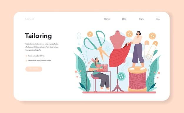 Couture de créateur de mode sur mesure pour la bannière web ou la page de destination