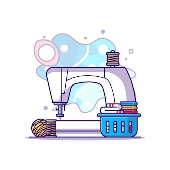 Couture avec illustration de dessin animé d'équipement. concept de fête du travail blanc isolé. style de bande dessinée plat