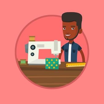 Couturière à l'aide d'une machine à coudre en atelier.