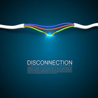 Couvercle artistique de déconnexion de rupture de câble. illustration vectorielle