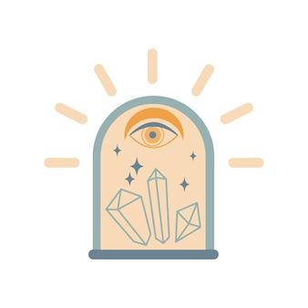 Couvercle en cristal magique vintage dessiné à la main avec oeil, pierres précieuses, lune, étoiles isolées sur fond blanc. illustration vectorielle bohème chic. conception pour affiche, impression, carte