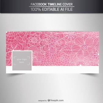 Couvercle floral rose de facebook