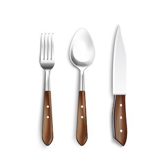 Couverts avec ensemble réaliste de manche en bois, y compris fourchette couteau cuillère sur illustration vectorielle fond blanc isolé