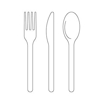 Couverts fourchette couteau et cuillère pour la nourriture icône contour couverts pour lanch plat