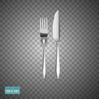 Couverts en métal réalistes mis fourchette et couteau isolés sur fond de damier abstrait avec des reflets d'ombres.
