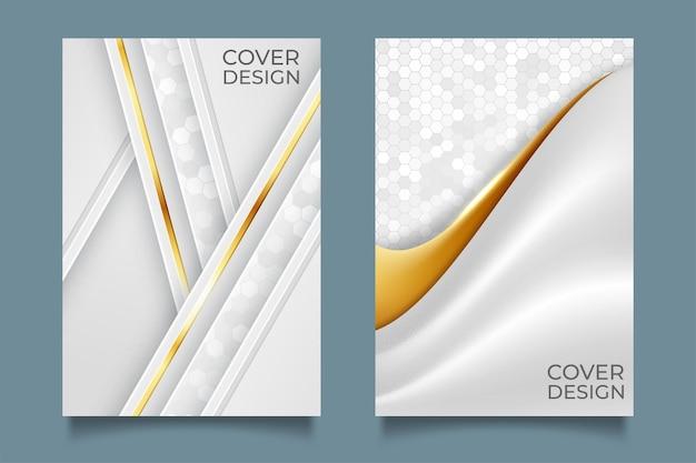 Couverture abstraite blanche moderne avec ligne dorée
