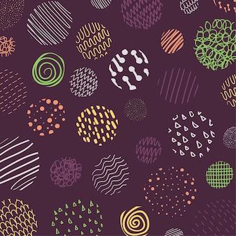 Couverture abstraite de la conception de motifs de cercles de motif de style ondulé doodle coloré